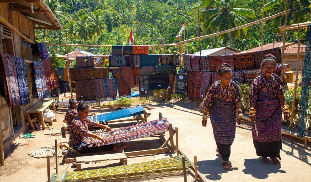 Local women in Maumere making traditional hand woven called